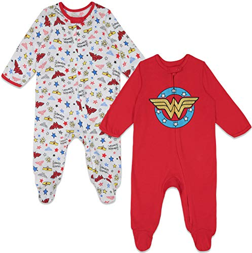 Warner Bros. Wonder Woman Baby Girls 2 Pack Sleep N' Play Footies 3-6 Months Red/White