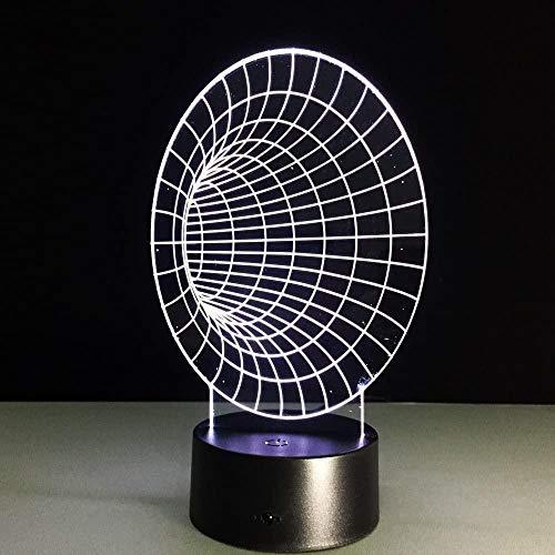 Túnel espacial Lámpara de ilusión 3D Luz al lado de la luz nocturna7 colores Cambio automático Interruptor táctil Lámparas de decoración de escritorio Regalo de cumpleaños