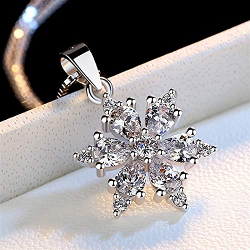 xinmeng Exquisite 925 Sterling Silver Necklace For Women Zircon Snowflake Necklaces Pendants Box Chain Choker Collares Jewelry