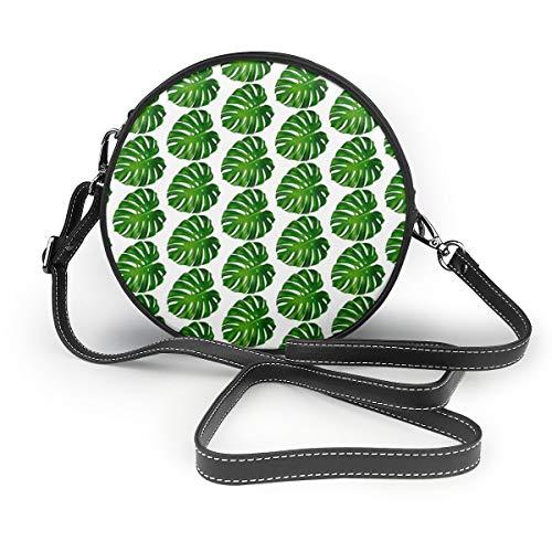 Meiya-Design Monstera Umhängetasche, rund, Blumenmotiv, Grün, Palme, tropische Pflanzen, Sommer, Umhängetasche, Handtasche