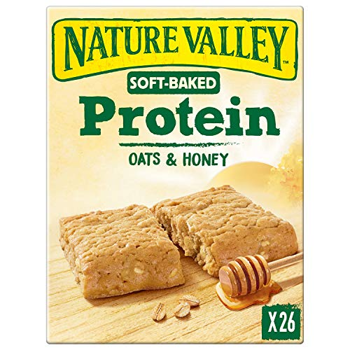 Nature Valley Protein Soft Bakes Oats & Honey Breakfast Biscuits Cereal Bars, 26 x 38 g