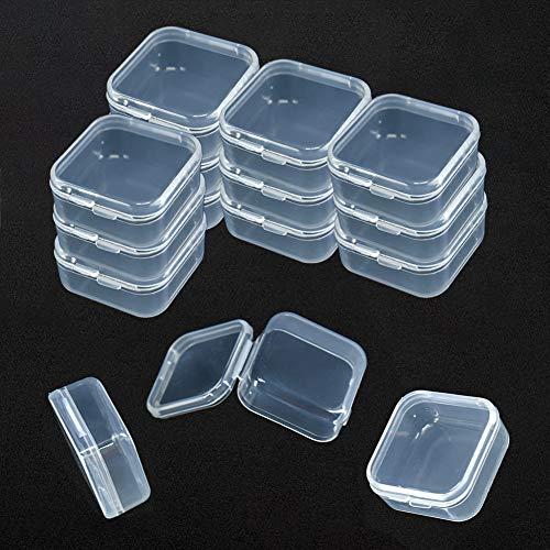 15 Stück Aufbewahrungsdosen transparent mit Deckel perlen aufbewahrungsdosen Aufbewahrungsbox für Perlen Ohrstöpsel Box Mini Kunststoffbox mit deckel quadratisch transparent 3.6 X 3.6 X1.8 cm
