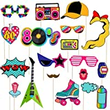 LUOEM 21pcs 80's Photo Booth Props Fiesta de cumpleaños Photo Props