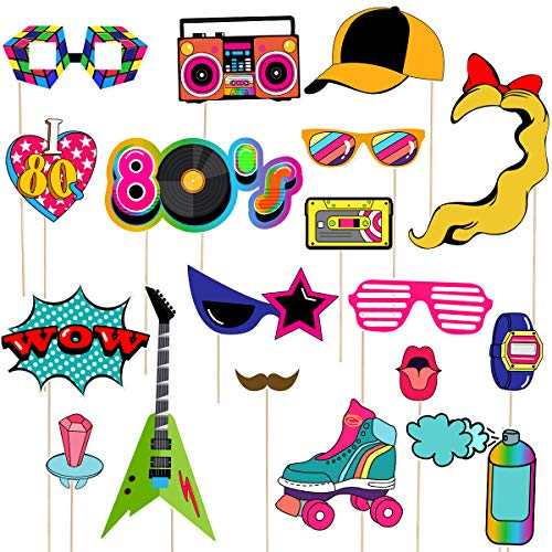 1980s Photo Booth Props. 21 Graphics made from high quality paper and wood.