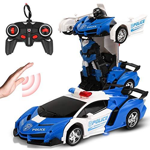 Vivibel Ferngesteuertes Auto RC Transformator Roboter Auto 360 °Drehung Bremsungs wiederaufladbares Kinder Spielzeug Auto EIN Schlüssel Verformungssportwagen Modellauto Spielzeug Geschenk