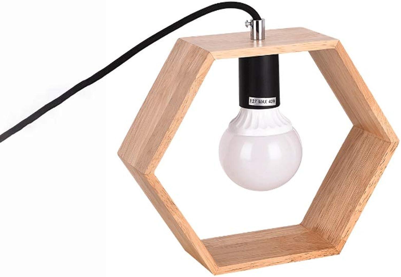 LDDEND Natürliche hlzerne Kunst ursprüngliche hlzerne kreative Tischlampe - moderne minimalistische Schlafzimmer-Nachttischlampe - warme dekorative Tischlampe - multi-Winkel kreative einfache Tischl