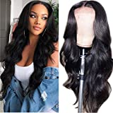 zhuomei BEAUTY Body Wave Lace Front Wigs Human Hair Wigs for Black Women Unprocessed Virgin Hair Lace Closure 150% Density Natural Black(28 Inch)