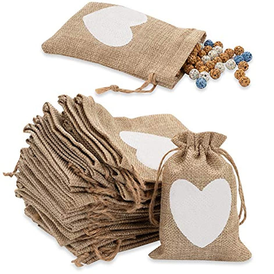 Shallylu 50Pcs Burlap Gift Bags, Burlap Drawstring Linen Bags Jewelry Pouches Sacks for Wedding Party, Birthday, Christmas, DIY Craft