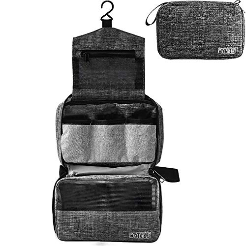 Kulturtasche zum Aufhängen Faltbarer Reise Kulturbeutel mit Tragegriff Waschtasche Premium-Qualität Waschbeutel für Männer & Frauen (schwarz)