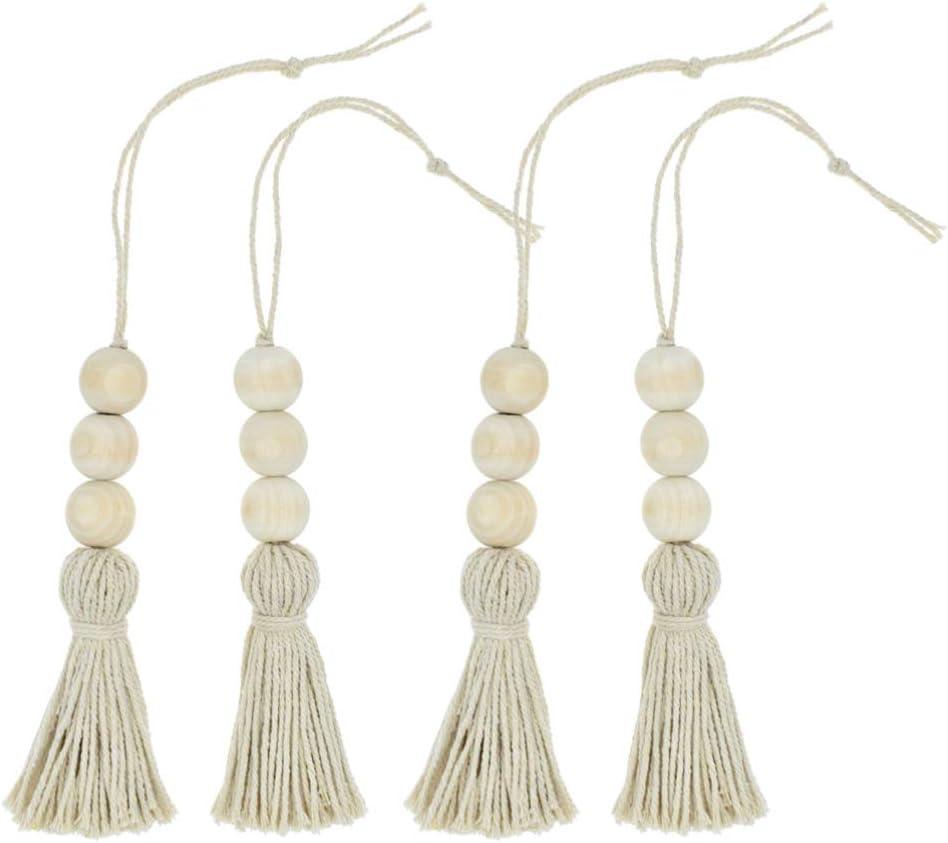 rosenice SALENEW very popular 4pcs Wood Beads Tassel Ornaments Bead String Farmhouse Sale SALE% OFF
