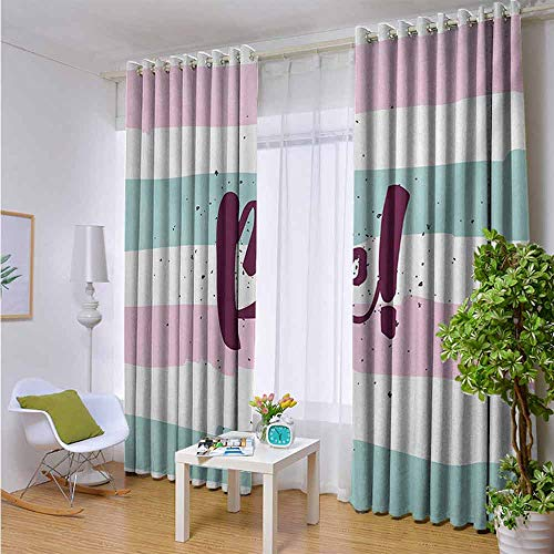 Burgundy Curtains Going Away Party,Bye Inscription Pastel Colored Striped Backdrop Art Print,Baby Pink Seafoam Purple,W104 by L72 Inch Home Garden Bedroom Outdoor Indoor Wall Decorations