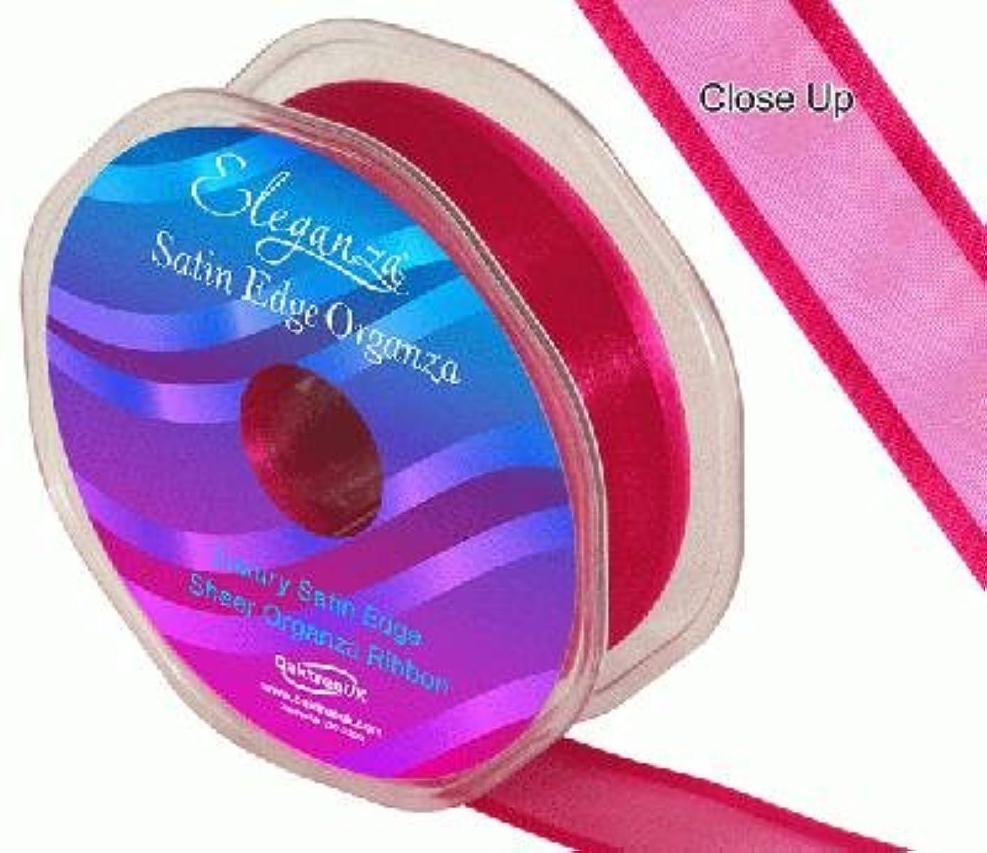 Eleganza 25 mm x 25 m Satin Edge Organza Ribbon Roll, Deep Cerise 30