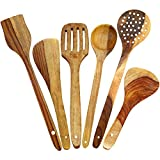 ITOS365 Handmade Hancrafted Wooden Spoons Cooking Utensil-Set (6-Pieces) Kitchen Tools, Set of 6