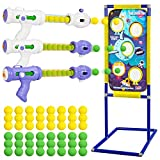 ThinkMax Shooting Games Toy for Kids, Space Theme Shooting Game Set, 3 Foam Ball Popper Air Guns & Shooting Target & 48 Foam Balls, Indoor-Outdoor Activity Game for Boys and Girls Age 5+