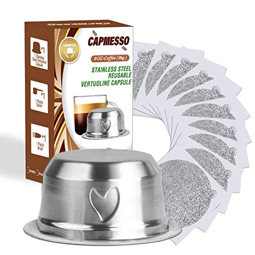 CAPMESSO Coffee Capsule, Refillable Vertuo Capsules Reusable Coffee Pod with Foil Lids Stainless Steel Compatible with Vertuoline GCA1,ENV135,Vertuo Plus,Vertuo Next (8oz pod+50 Foils)