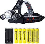 LED Head Torch Rechargeable 8000 Lumens 18650 Headlamp Flashlight Kit with 6PCS 3.7V