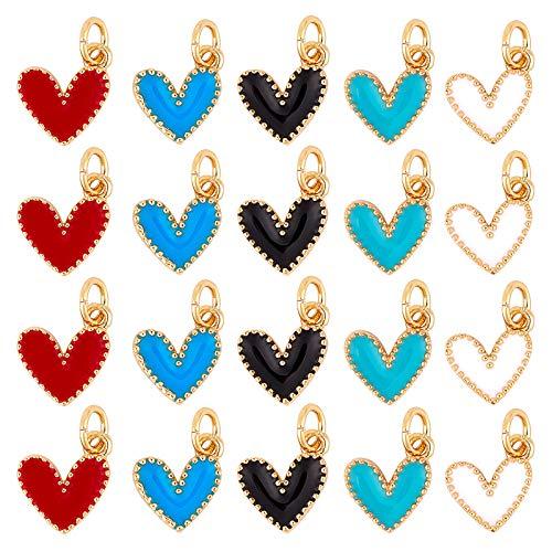 NBEADS 10 colgantes de aleación con forma de corazón esmaltados de colores mezclados para manualidades, pulseras, collares y bisutería.