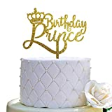 Happy Birthday Prince Cake Topper for Prince Birthday Cake Topper Party Decorations (Gold Glittery Acrylic)