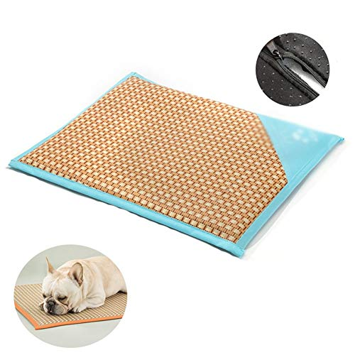 YJFENG Pet Cool Mat, Natural Bamboo Fiber Waterproof Oxford Cloth Washable Dog Bed Cooling Pad Take It with You when You Travel (Color : Green, Size : 69x50cm)