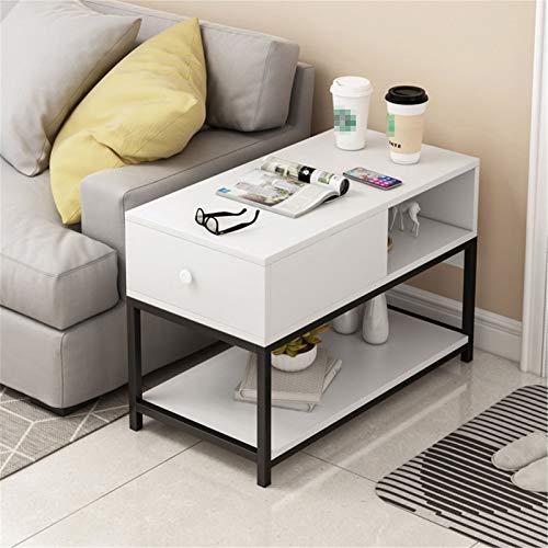 JTRHD Mesas de café Mesa de Noche de 2 Capas con cajones Estrechos Pequeña mesita de Noche Estable y Estructura Robusta para Muebles de salón de Oficina (Color : Blanco, Size : 80x40x68cm)