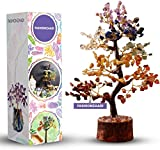 FASHIONZAADI Seven Chakra Gemstone Tree - Healing Crystal Money Trees Feng Shui Gift Handmade Reiki Crystals & Stone Home Office Table Décor Good Luck Throat Chakras Size 10-12 Inch (Golden Wire)