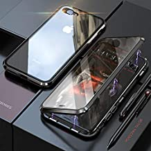 YMXPY Front Tempered Glass + Back Tempered Glass iPhone7 iphone8 Case Metal Frame 360° Full Cover Magnetic Adsorption All-Around Protection (Black×Black, iPhone 7/iPhone 8)