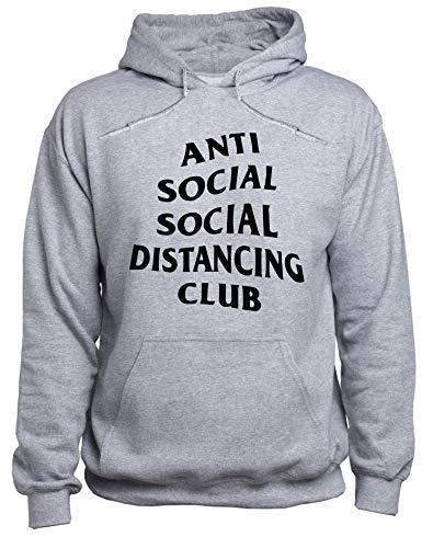 EUGINE DREAM Social Distance Antisocial CoronaVirus Sweater Unisex Sudadera con Capucha Gris M