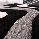 Paco Home Designer Teppich mit Konturenschnitt Wellen Muster Schwarz Grau Weiss, Grösse:80x150 cm - 3