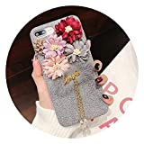 Floral Rose Flower Fluffy Fur Case for iPhone XR XS Max XS 10 Warm Cover Diamond Phone Case for iPhone 6 6s Plus 7 8,Gray,for iPhone Xs Max -  Thirsty-X Phone Cases