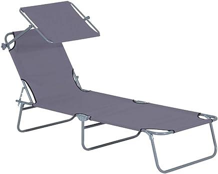 2 Stück Sonnenliege Gartenliege Campingliege mit Dach Stahl//Textilen Grau
