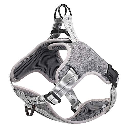 JSM Dog Harness Reflective Adjustable No Pull Dog Working Training Vest Harness Well-Matched Most Leash for Small Medium Large Dog
