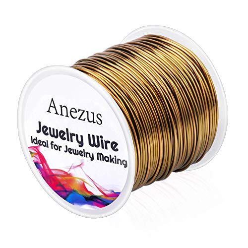 Jewelry Craft Wire for Jewelry Making, Anezus Craft Wire 18 Gauge Tarnish Resistant Copper Beading Wire for Jewelry Making Supplies and Crafting (18 Gauge, Antique Bronze)