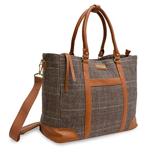 Adrienne Vittadini 12' Laptop Travel Tote With Pockets Great for Travel, College and School (Wool Brown Plaid)