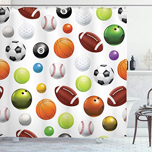 Ambesonne Sports Shower Curtain, Different Type of Balls Various Sports Professional Hobbies Leisure Time Activity, Cloth Fabric Bathroom Decor Set with Hooks, 70' Long, Black Green