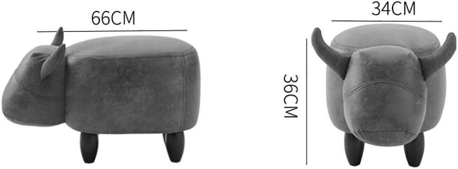 LYQQQQ Pouf rembourré Tabouret Canapé Pouf Changement Chaussures Tabouret Mode Creative Vache Forme Pouf, Pieds en Bois 4 Pieds (34 * 66 * 36cm) (Color : B) B