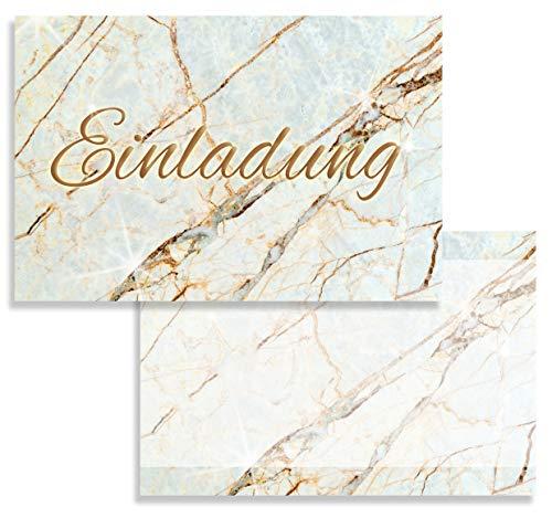 10x Einladungskarten Marmor mit Umschlägen Einladung Geburtstag Umschläge 2 Seitig elegant Hochglanz Jubileum 20 30 40 50 60 70 80