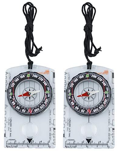 AceCamp 2 x Kompass Outdoor Premium Portable Karten-kompass mit Funktion, Navigation Tools für Camping Wandern, transparent, Doppelpack 3128