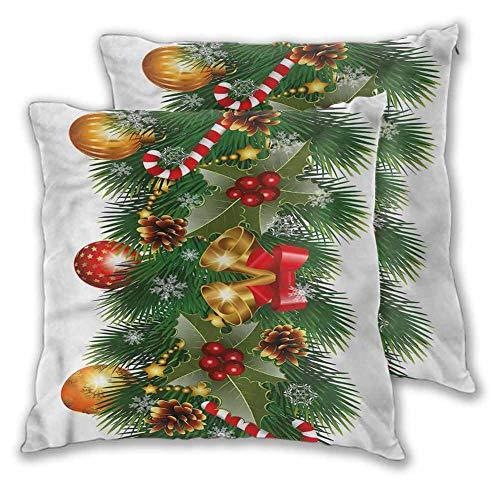 Xlcsomf Christmas Soft decorative pillowcase, 20 x 20 Inch Noel Tree Ornaments For sofa Christmas decoration Set of 2