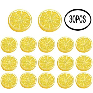 erduoduo 30 Pieces Simulation Lemon Slices Plastic Fake Artificial Fruit Mini Small Model Party Kitchen Wedding Decoration Slices Lifelike Decorative Fake Fruit(Yellow)