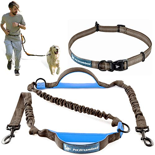 Pet Dreamland Hands Free Leash for Running Medium to Large Dogs - Waist Dog Leash - Professional Shock Absorbing Bungee Harness - Reflective Dog Running Belt