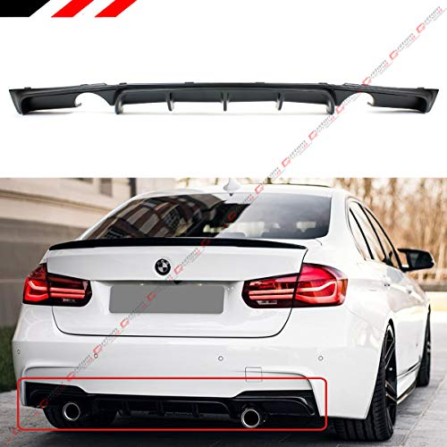 Fits for 2012-18 BMW F30 F31 F35 3 Series M Sport Performance Style Dual Exhaust Black Rear Bumper Diffuser Valance