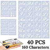 Letter Stencils for Painting on Wood - Alphabet Stencils with Calligraphy Font Upper and Lowercase Letters - Reusable Plastic Art Craft Stencils with Numbers and Signs - Set of 40 Pcs - 160 Designs