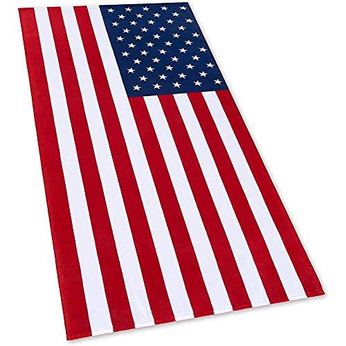 Abel Berth Toalla de Playa con Bandera Americana USA Patriot Velour Terry Suave y cómodo