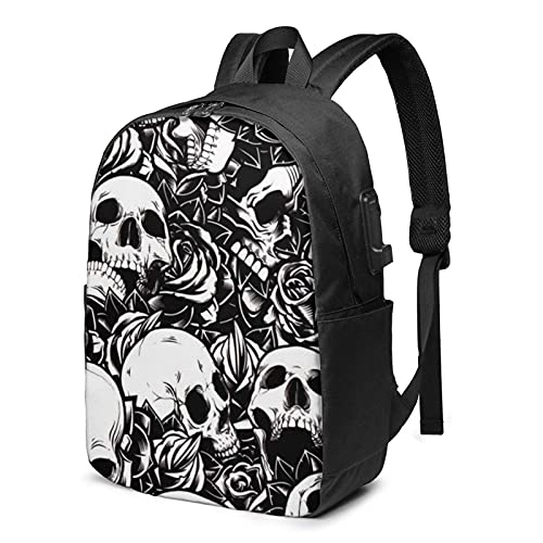 XCNGG Skull with Roses Travel Laptop Backpack, Backpack with USB Charging Port, for Men Women Fits 17 Inch