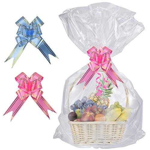 SelfTek 20 piezas Bolsas transparentes de canasta con cinta de arcos de 20 piezas (dos colores al azar) 32 x 22 pulgadas Bolsas de celofán envueltas para regalos, manualidades y dulces