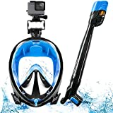Maschera Snorkeling Protettiva CO2 con Tubo panoramico a 360° + Quick-Clip, LED & Supporto videocamera e Protezione CO2 Maschera SNX650 Pieno-facciale per Bambini e Adulti da Immersione