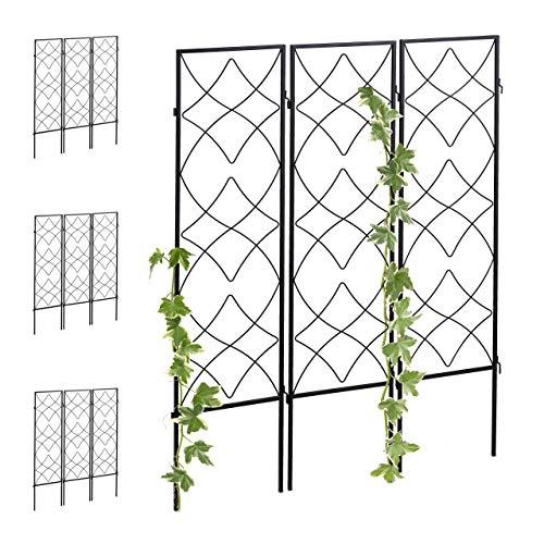 Relaxdays 12 x Rankgitter Metall, zum Stecken, Rankhilfe für Kletterpflanzen, 122 x 31 cm, Spalier Garten, Kletterhilfe, schwarz