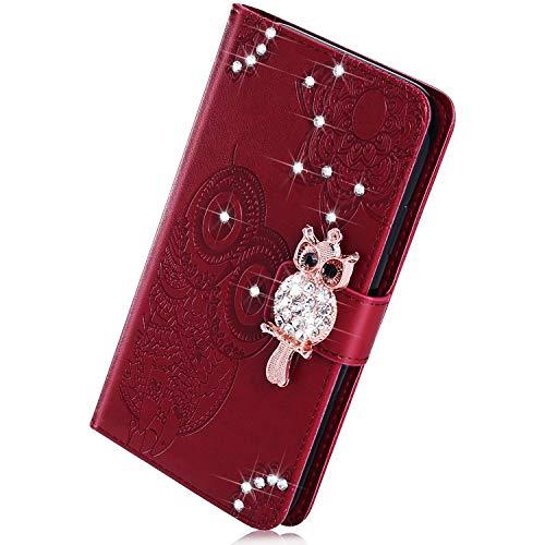 Herbests Kompatibel mit Samsung Galaxy S10 Plus Handyhülle Glitzer Bling Strass Diamant Eule Mandala Blumen Muster Leder Tasche Flip Case Cover Hülle Schutzhülle Klapphülle Magnet,Braun
