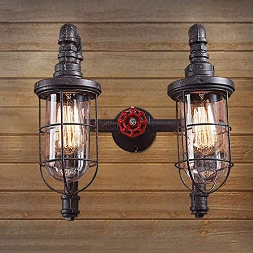 Aplique de metal Estilo minimalista Metal Iluminación de pared Luz de pared 14 pulgadas Moteado óxido hierro 2 Luz Cause con tubo de vidrio Iluminación Luminaria clásico Retro Vintage Industrial Luces
