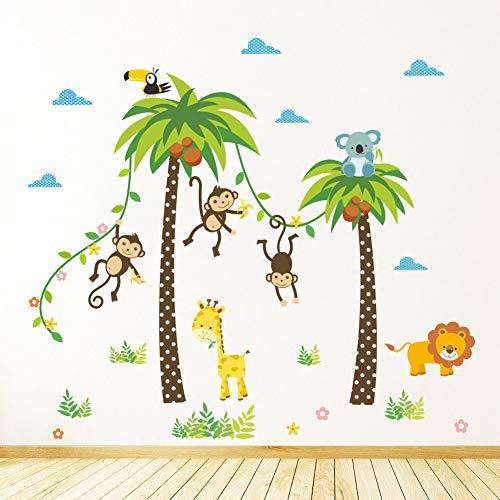 LCBLC Autocollant mural Animaux Lion Girafe Cheeky Singe Swing Arbre De Noix De Coco Stickers Muraux Pour Enfants Enfants Chambre Affiche Home Decor Nursery Decal